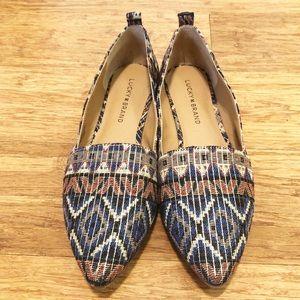 Lucky Brand boho textile pointy toe flats. 8. EUC.